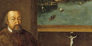 Portrait of Jakob Anton Graf von Fugger with a view of Meersburg