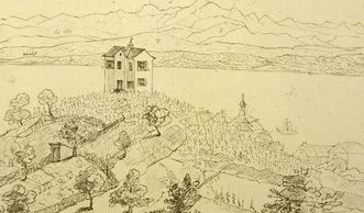 Meersburg Prince's Little House, drawing by Leonhard Hohbach, 1846