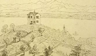 Fürstenhäusle Meersburg, Zeichnung von Leonhard Hohbach von 1846